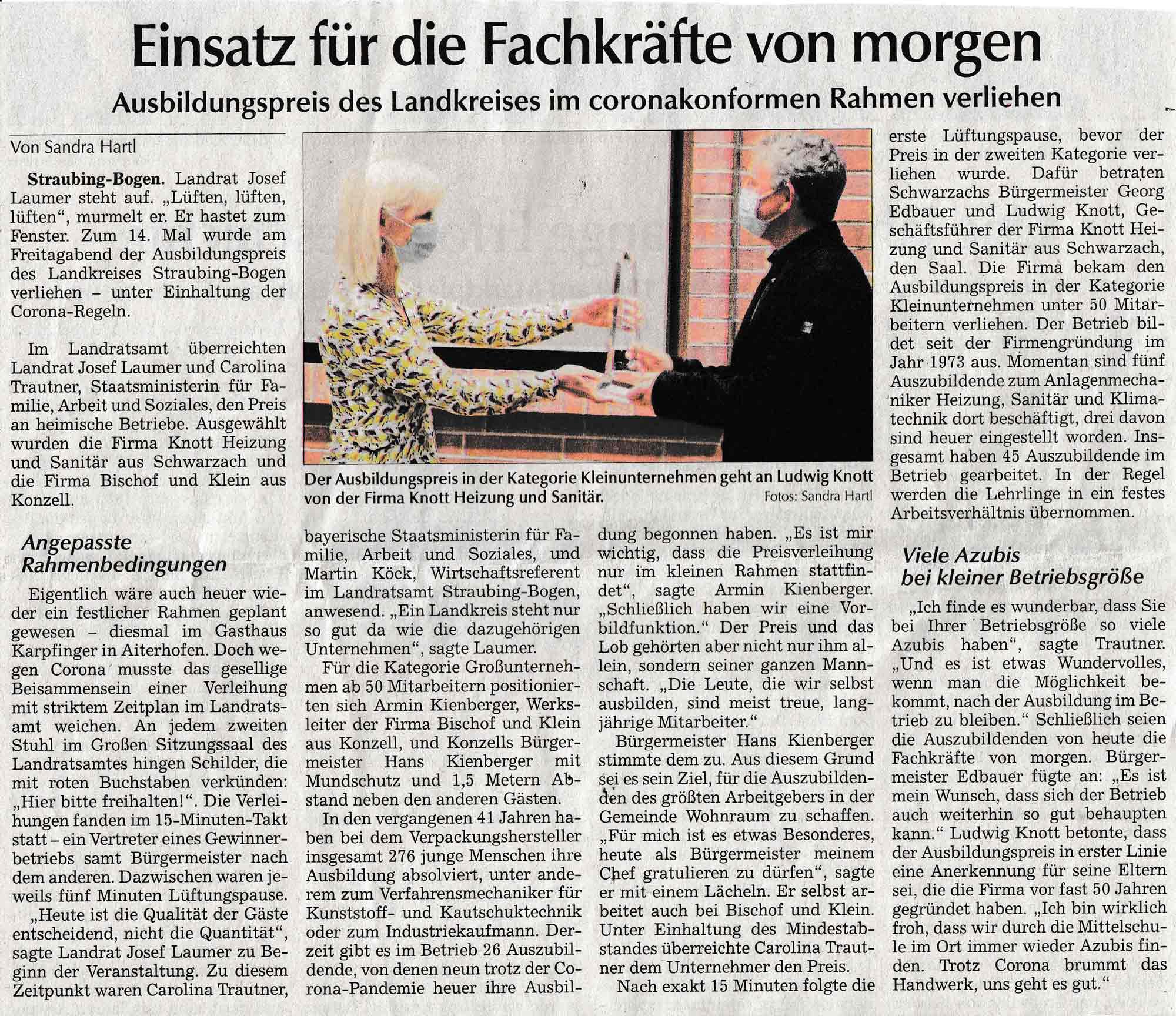 Ausbildungspreis 2020 an Knott Heizung und Sanitär im Straubinger Tagblatt